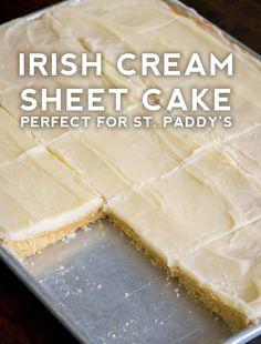 Irish Cream Sheet Cake - great for St. Cupcakes, Cupcake Cakes, Cake Cookies, Just Desserts, Dessert Recipes, Frosting Recipes, Dessert Bars, Dessert Ideas, Sheet Cake Recipes