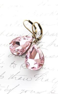 Dangle Earrings Pastel Pink Glass Drop