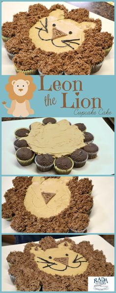 Cupcake Cake Lion Looking for a great cupcake idea that would be fun for both kids and adults? Then look no further than Leon the Lion! Leon is a friendly lion but hes also a cupcake cake one thats easy to make and certain to thrill everyone who sees it. Cupcakes Design, Cupcake Cake Designs, Cookies Cupcake, Fun Cupcakes, Birthday Cupcakes, Diy Jungle Birthday Cake, Lion Birthday Cakes, Easy Kids Birthday Cakes, Lion Birthday Party
