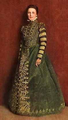 Dress in Spanish style, from the second half of 16th century, History of Costume (German edition), K.Kohler