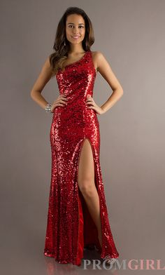 One Shoulder Sequin Prom Gowns, Blush Long Sequin Dress- PromGirl