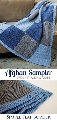 Simple, contemporary border for the Crochet Along Afghan Sampler for 2015 from The Inspired Wren   CAL with two crochet squares per month for a complete blanket in one year