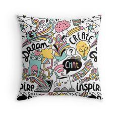 Everyday Throw Pillows Doodle cute, cartoon, cat, dream, idea, create.