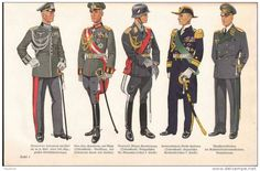 (from left to right) German Wehrmacht generals and marshals' parade walking-out uniform, Wehrmacht generals and marshal's parade dress uniform, Luftwaffe general's and marshal's parade dress uniform, Kriegsmarine admirals' parade walking-out uniform, and Luftwaffe generals' and marshals' parade walking-out uniform.