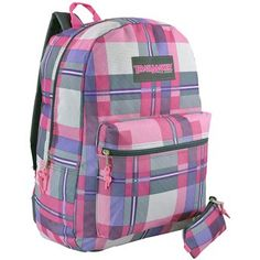16.5 Inch Grey / Pink Plaid Multi Compartment Backpack Student School Book Bag + Pencil Case