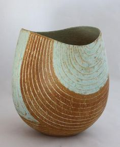 """john ward ~ oval pot with dipped rim, blue-green and ochre banded design, 8.5"""" high .. at the stour gallery"""