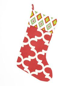 Love this Red & Gray Ikat & Diamond Stocking on #zulily! #zulilyfinds