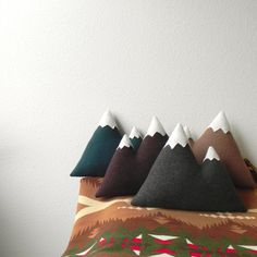 the Peaks -- wool mountain pillow - warm browns on Etsy, 46,42 €