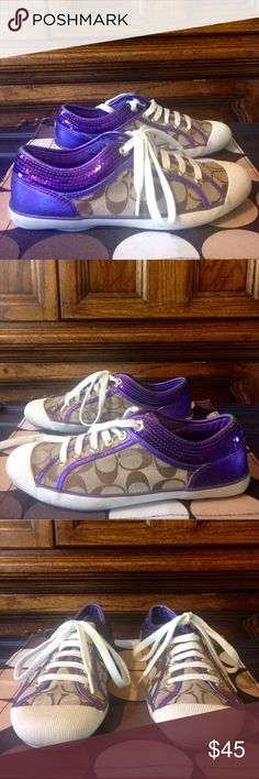 "COACH ""Zorra"" Purple Sequin Lace-Up Sneakers EUC 8 COACH ""Zorra"" Purple Sequin Lace-Up Sneakers EUC 8 •DETAILS: *Signature jacquard fabric with metallic purple sequined trim *Cotton twill lining. *Rubber sole. *In GREAT Shape!  **SMOKE-FREE & PET-FREE HOME!** Coach Shoes Sneakers"