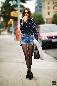 ALEXA CHUNG in cutoffs, patterned shirt and suede wedge boots