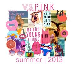 """""""Bright, Young, Wild & Free"""" by cbianchi94 ❤ liked on Polyvore featuring Victoria's Secret PINK, Victoria's Secret, Matthew Williamson, Music Notes, pink, vs, victoria's secret and summer"""