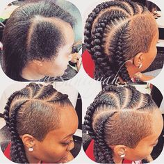 Shaved sides and cornrows