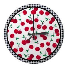 cherry checkered wall clock