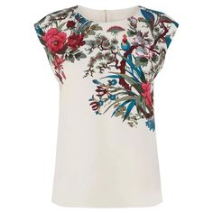 Floral Print Zipper Scoop Collar Bird and Trendy Style Women's T-Shirt, WHITE, M in Tees & T-Shirts   DressLily.com