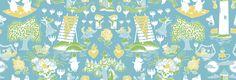 Moomin Retro Pattern - Blue & Green - Tapetit / tapetti - Photowall
