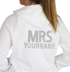 This Zip Hoodie is customized with the Bride new last name in rhinestones! A perfect Bachelorette Party or Bridal Shower Gift!  Just $42.99 exclusively at The House of Bachelorette!