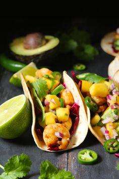 Spicy Shrimp Tacos with Mango Salsa - thelastfoodblog.com