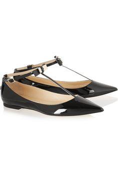 Jimmy Choo | Glaze patent-leather point-toe flats | NET-A-PORTER.COM