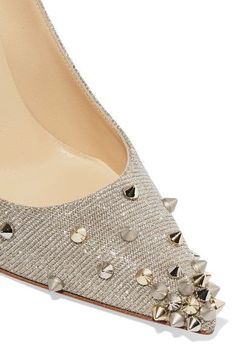 Christian Louboutin - Degraspike 100 Spiked Canvas Pumps - Silver - IT40.5