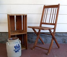 Early Wooden Folding Chair  Vintage Funeral Home by DivineOrders, $25.00