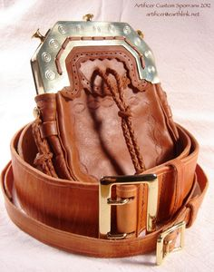 Custom Brass Cantle Sporran with Victorian-Styled Tooled and Braided Cowhide Bag, Matching Sam Browne Kilt Belt and Sporran Strap