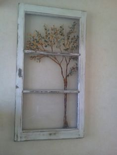 Reversed painting on an old window. Painted Window Panes, Window Pane Art, Window Frames, Antique Windows, Vintage Windows, Old Windows, Old Window Projects, Window Ideas, Art Ideas