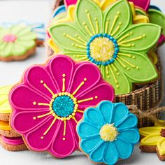 .Vibrant flower cookies #food