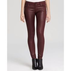 Burberry Brit Waxed Skinny Jeans in Oxblood ($250) ❤ liked on Polyvore featuring jeans, oxblood, oxblood skinny jeans, denim skinny jeans, burberry, highwaist jeans and skinny leg jeans