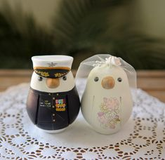 Hand Painted Uniformed Bird Cake Toppers on Etsy