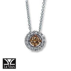 LeVian Chocolate Diamonds 1/2 ct tw Necklace 14K Vanilla Gold Kay jewelers $1600