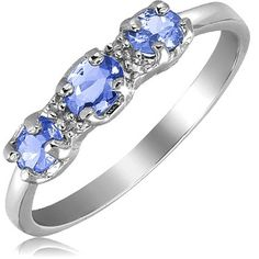 ½ Carat Tanzanite Diamond Accent Sterling Silver Oval Shape Ring