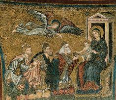 Torriti Apse mosaic, window level: Adoration of the Kings 1296 (completed) Mosaic Santa Maria Maggiore, Rome Early Christian, Christian Art, Active C, Renaissance Image, Santa Maria Maggiore, Romanesque Art, Byzantine Art, Italian Art, Medieval Art