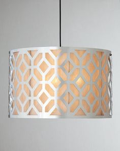 """Large """"Geometric"""" Pendant at Horchow. (Base Heater Cover over Lampshade? Lighting Sale, Home Lighting, Kitchen Lighting, Lighting Ideas, Entry Lighting, Kitchen Chandelier, Island Lighting, Small Pendant Lights, Pendant Lighting"""