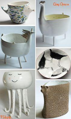 Clay Opera and Atelia Stella Ceramics to make you smile – Handwerk und Basteln Ceramic Bowls, Ceramic Pottery, Pottery Art, Ceramic Art, Stoneware, Slab Pottery, Pottery Studio, Clay Projects, Clay Crafts