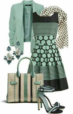 Mode Outfits, Casual Outfits, Fashion Outfits, Womens Fashion, Fashion Trends, Green Outfits, Striped Outfits, Skirt Outfits, Spring Outfits