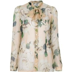 DOLCE & GABBANA floral tie neck blouse ($625) ❤ liked on Polyvore