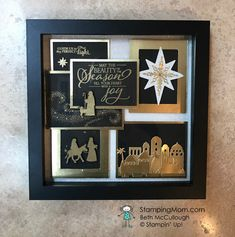 Picks from My Pals Stamping Community! (Mary Fish, Stampin' Pretty The Art of Simple & Pretty Cards) Christmas Shadow Boxes, Christmas Frames, Christmas Ideas, Christmas Eve, Christmas Decor, Holiday, Box Frame Art, Shadow Box Frames, Homemade Christmas Cards