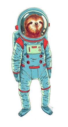 Neil Sloth, the first sloth to walk on the moon. One small step for a sloth, a giant step for sloth-kind. Animals And Pets, Funny Animals, Cute Animals, Wild Animals, Baby Animals, Cute Sloth Pictures, Sloth Photos, Sloth Drawing, Sloth Tattoo