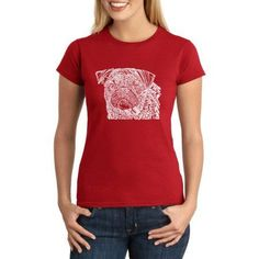 Los Angeles Pop Art Juniors Animals Word Art Graphic Tee, Size: XS, Red