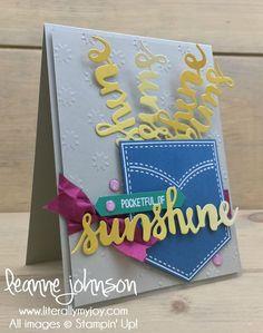 Sunshine in My Pocket | Stampin\' Up! | Pocketful of Sunshine #literallymyjoy #pocket #sunshine #sharingsmiles #BerryBurst #DapperDenim #EmeraldEnvy #ColorTheoryDSP #20172018AnnualCatalog