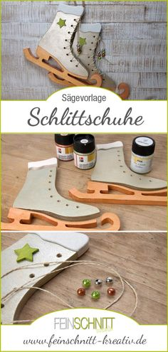 Jigsaw template Ice skates / Laubsägevorlage Schlittschuhe With this jigsaw template for skates with metallic effect you make a successful decoration for the winter. Primitive Christmas, Christmas Wood, Christmas Signs, Christmas Tree Decorations, Wooden Decor, Wooden Diy, Diy Presents, Diy Gifts, Winter Diy