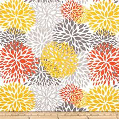 Premier Prints Indoor/Outdoor Blooms Citrus from @fabricdotcom  Premier Prints outdoor fabrics are screen printed on spun polyester and have a stain and water resistant finish. These fabrics withstand direct sunlight for up to 500 hours making them both durable and versatile, perfect for outdoor settings and indoor living in sunny rooms, great family friendly fabric! Create decorative toss pillows, chair pads, placemats, tote bags and much more. To maintain the life of the fabric bring ...