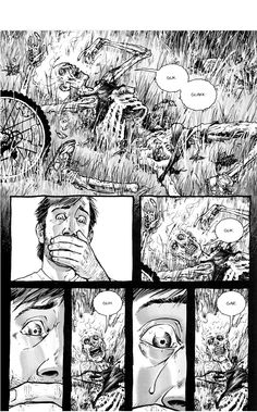 Rick during the Beginning - The Walking Dead Comic Walking Dead Comics, The Walking Dead, Walking Dead Comic Book, Dystopian Art, Twd Comics, Horror, Bicycle Girl, Comic Panels, Dead Inside