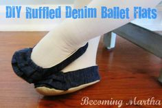 Becoming Martha: DIY Ruffled Denim Ballet Flats