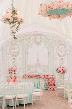 pastel wedding reception, Paris France inspired wedding, pink and mint Engagement Decorations, Wedding Reception Decorations, Wedding Themes, Wedding Designs, Wedding Table, Debut Themes, Bridal Shower Backdrop, Decoration Table, Backdrops