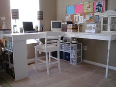 Make a DIY Craft Desk Out of Cube Shelves  Want a desk made just how you like it ... and to save some cash too? Try this great DIY desk ... incorporating some great cube shelf storage.