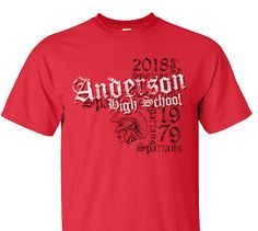 High School Impressions search HS-020-W; 2018 AHS Distressed Spartans Spirit Wear T-Shirts- Create your own design for t-shirts, hoodies, sweatshirts. Choose your Text, Ink and Garment Colors.