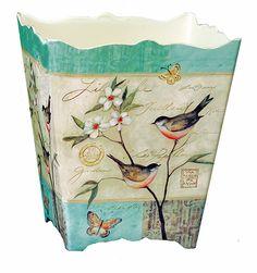 """Amazon.com - Floral Wastebasket - """"Garden Song"""" Bird & Floral Waste Basket - Trash Can -"""