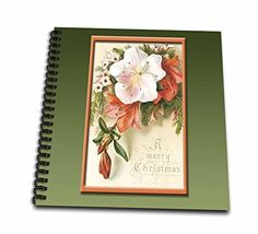 BLN Vintage Christmas Designs  Vintage Christmas Card with Pink and White lillies on a Green Background  Memory Book 12 x 12 inch db_149602_2 >>> You can find out more details at the link of the image.