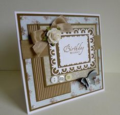 Homemade Birthday Cards, Happy Birthday Cards, Homemade Cards, Spellbinders Cards, Stampin Up Cards, Butterfly Cards, Flower Cards, Blue Birthday, Beautiful Handmade Cards